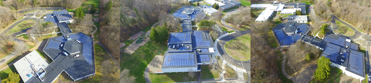 Aerial view of the school solar panels